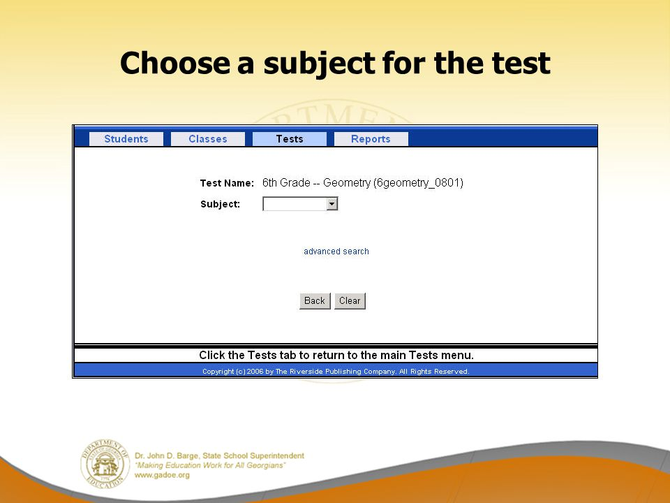 Choose a subject for the test