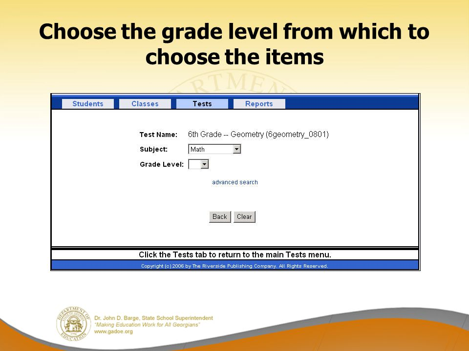 Choose the grade level from which to choose the items