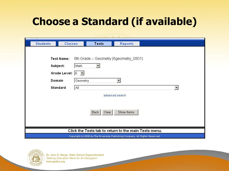 Choose a Standard (if available)