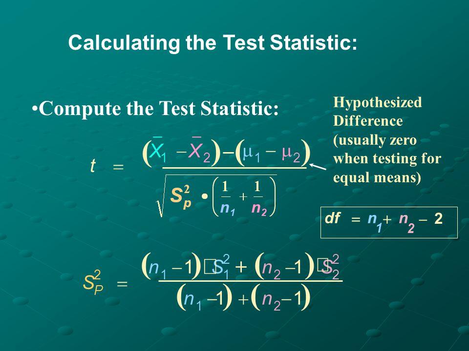H 0 : 1 - 2 = 0 ( 1 = 2 ) H 1 : 1 - 2 0 ( 1 2 ) = 0.05 = 0.05 df = 13 + 9 - 2 = 20 Critical Value(s): t 02.086-2.086.025 Reject H 0 0.025 Solution