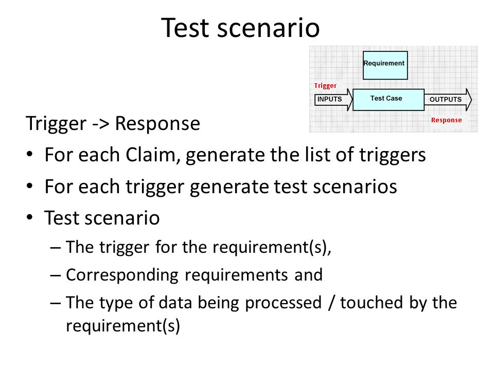 Test scenario Trigger -> Response For each Claim, generate the list of triggers For each trigger generate test scenarios Test scenario – The trigger for the requirement(s), – Corresponding requirements and – The type of data being processed / touched by the requirement(s)
