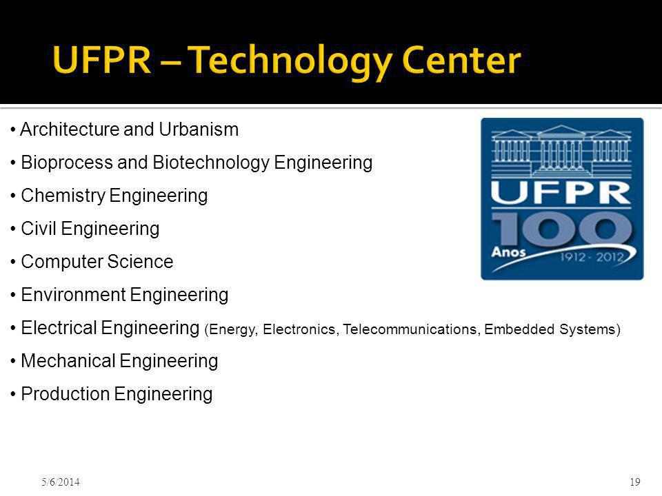 5/6/201419 Architecture and Urbanism Bioprocess and Biotechnology Engineering Chemistry Engineering Civil Engineering Computer Science Environment Engineering Electrical Engineering (Energy, Electronics, Telecommunications, Embedded Systems) Mechanical Engineering Production Engineering