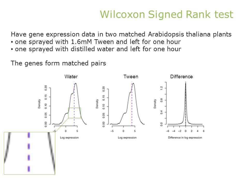 Wilcoxon Signed Rank test Have gene expression data in two matched Arabidopsis thaliana plants one sprayed with 1.6mM Tween and left for one hour one sprayed with distilled water and left for one hour The genes form matched pairs WaterTweenDifference
