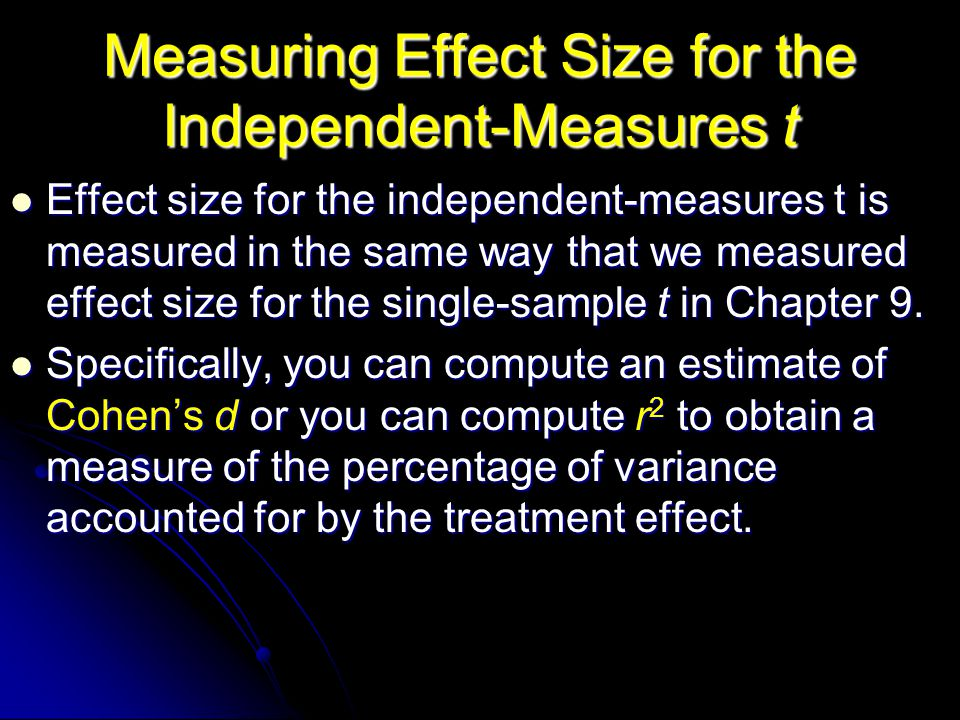 Measuring Effect Size for the Independent-Measures t Effect size for the independent-measures t is measured in the same way that we measured effect si
