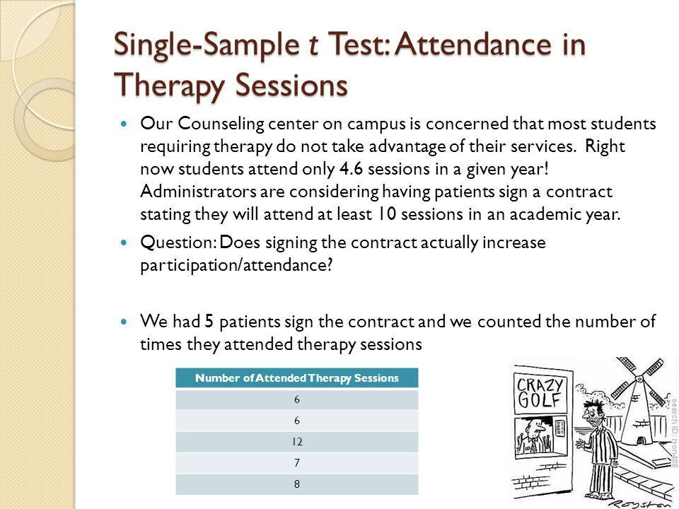 Single-Sample t Test: Attendance in Therapy Sessions 1.