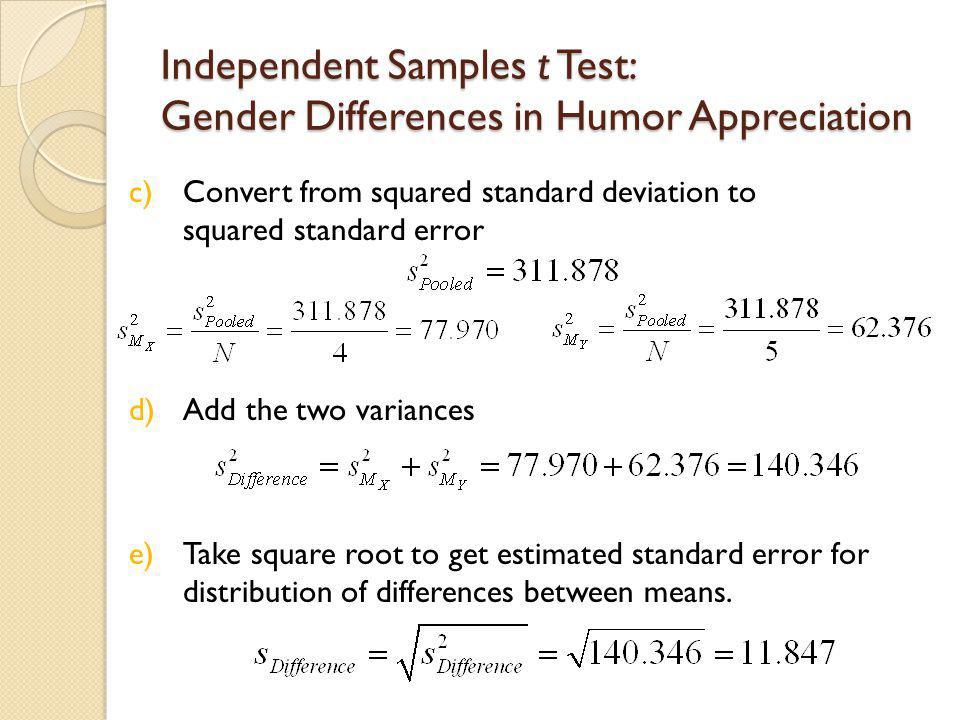 Independent Samples t Test: Gender Differences in Humor Appreciation 4.