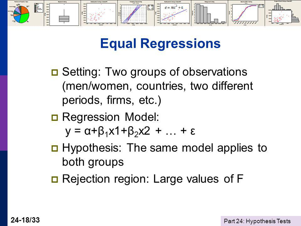 Part 24: Hypothesis Tests 24-18/33 Equal Regressions Setting: Two groups of observations (men/women, countries, two different periods, firms, etc.) Re
