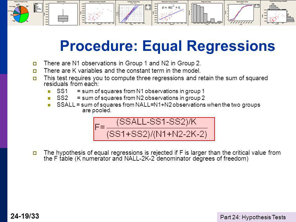 Part 24: Hypothesis Tests 24-19/33 Procedure: Equal Regressions There are N1 observations in Group 1 and N2 in Group 2.
