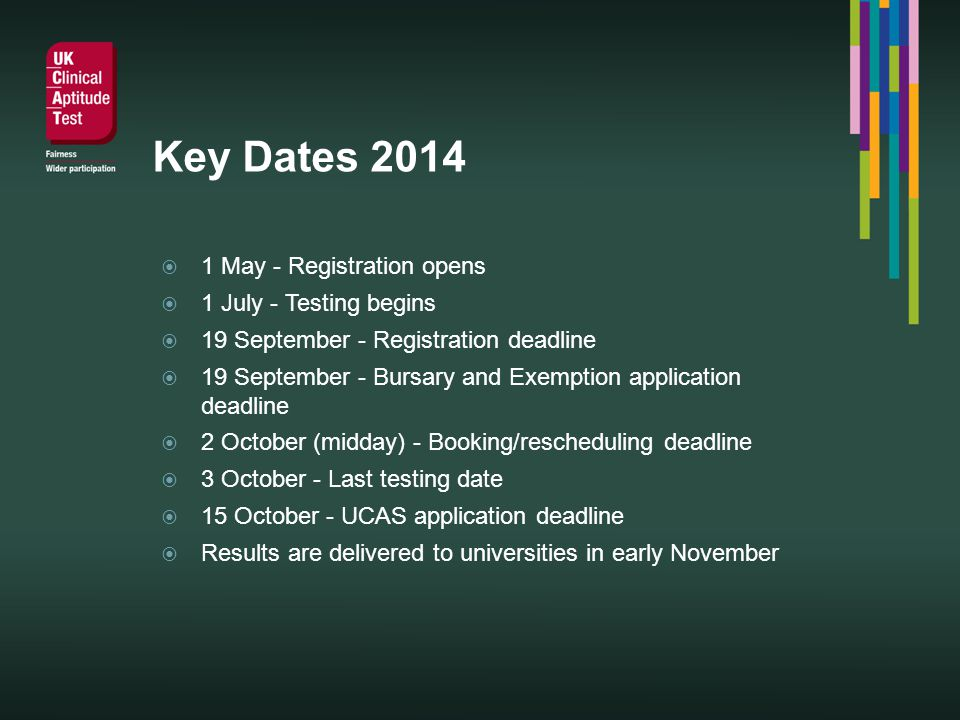Key Dates 2014 1 May - Registration opens 1 July - Testing begins 19 September - Registration deadline 19 September - Bursary and Exemption application deadline 2 October (midday) - Booking/rescheduling deadline 3 October - Last testing date 15 October - UCAS application deadline Results are delivered to universities in early November
