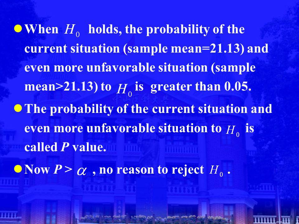 When holds, the probability of the current situation (sample mean=21.13) and even more unfavorable situation (sample mean>21.13) to is greater than 0.05.