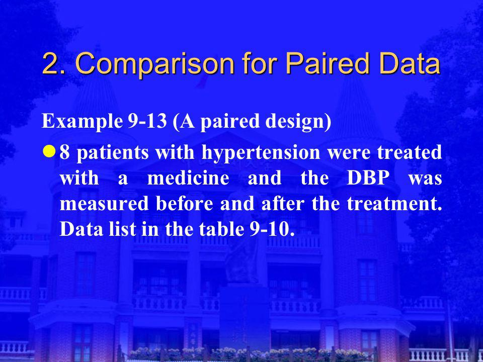 2. Comparison for Paired Data Example 9-13 (A paired design) 8 patients with hypertension were treated with a medicine and the DBP was measured before