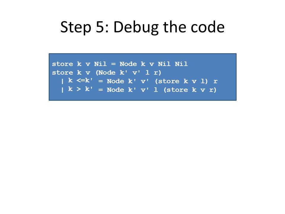 Step 5: Debug the code store k v Nil = Node k v Nil Nil store k v (Node k v l r) | k <= k = Node k v (store k v l) r | k > k = Node k v l (store k v r) k <=k k > k