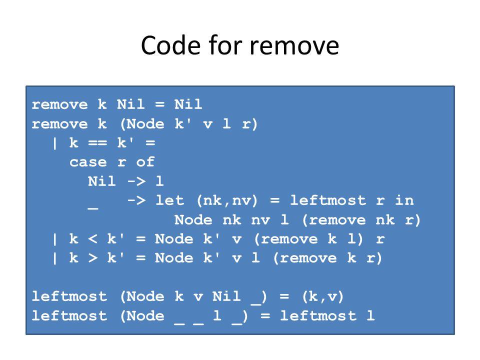Code for remove remove k Nil = Nil remove k (Node k v l r) | k == k = case r of Nil -> l _ -> let (nk,nv) = leftmost r in Node nk nv l (remove nk r) | k < k = Node k v (remove k l) r | k > k = Node k v l (remove k r) leftmost (Node k v Nil _) = (k,v) leftmost (Node _ _ l _) = leftmost l