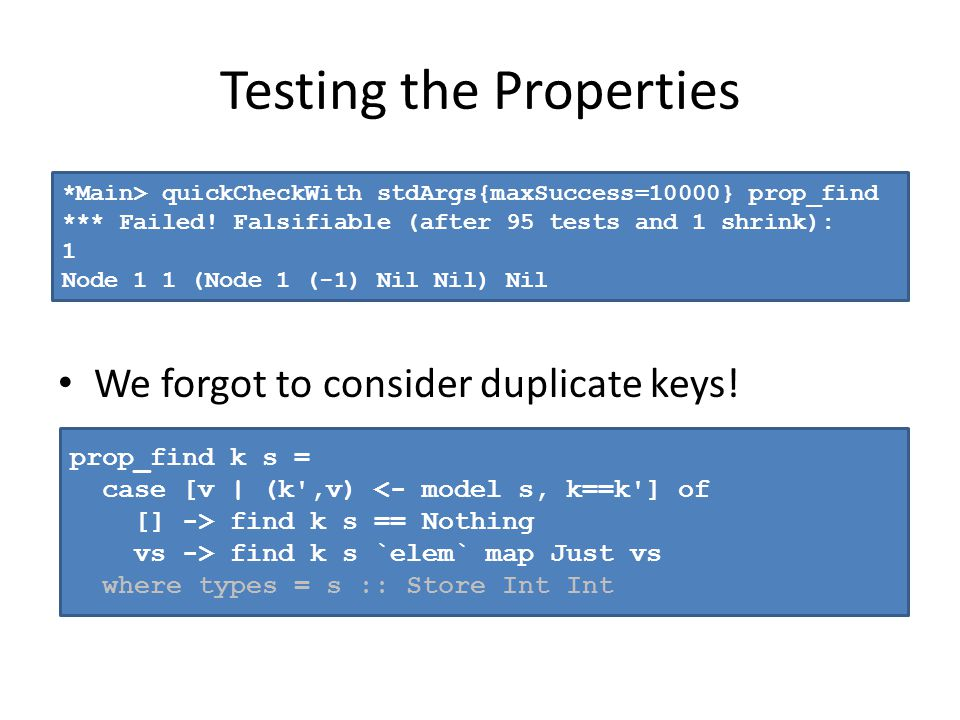 Testing the Properties We forgot to consider duplicate keys! *Main> quickCheckWith stdArgs{maxSuccess=10000} prop_find *** Failed! Falsifiable (after