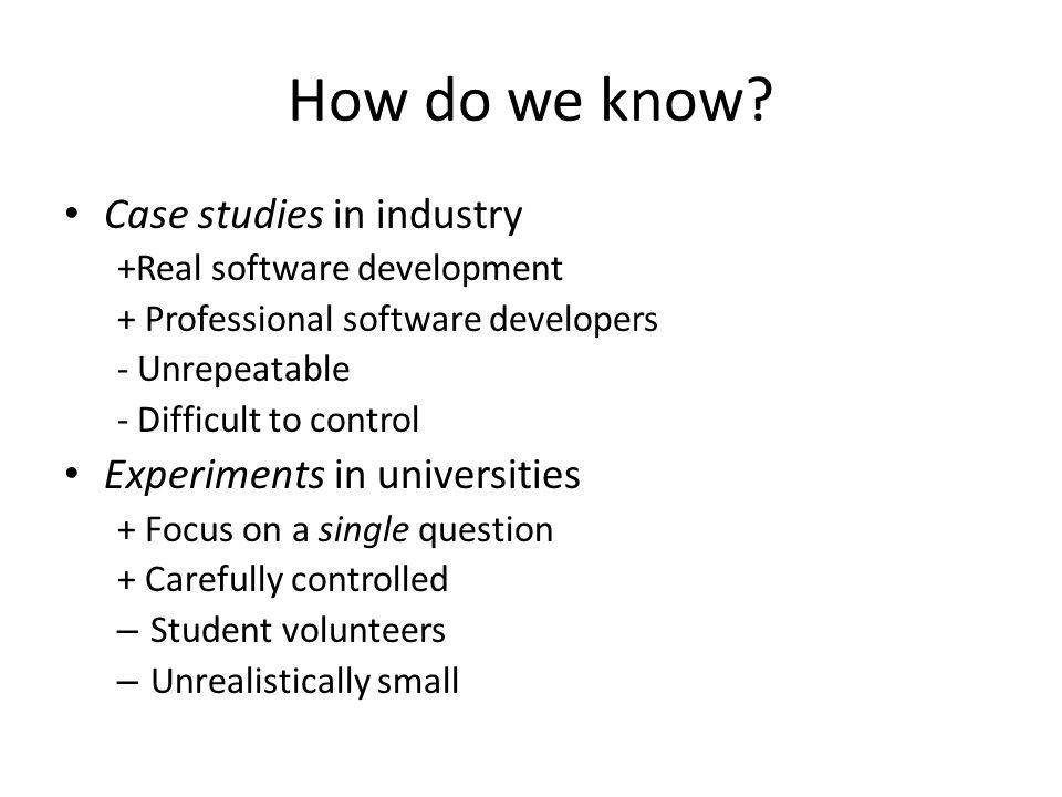 How do we know.