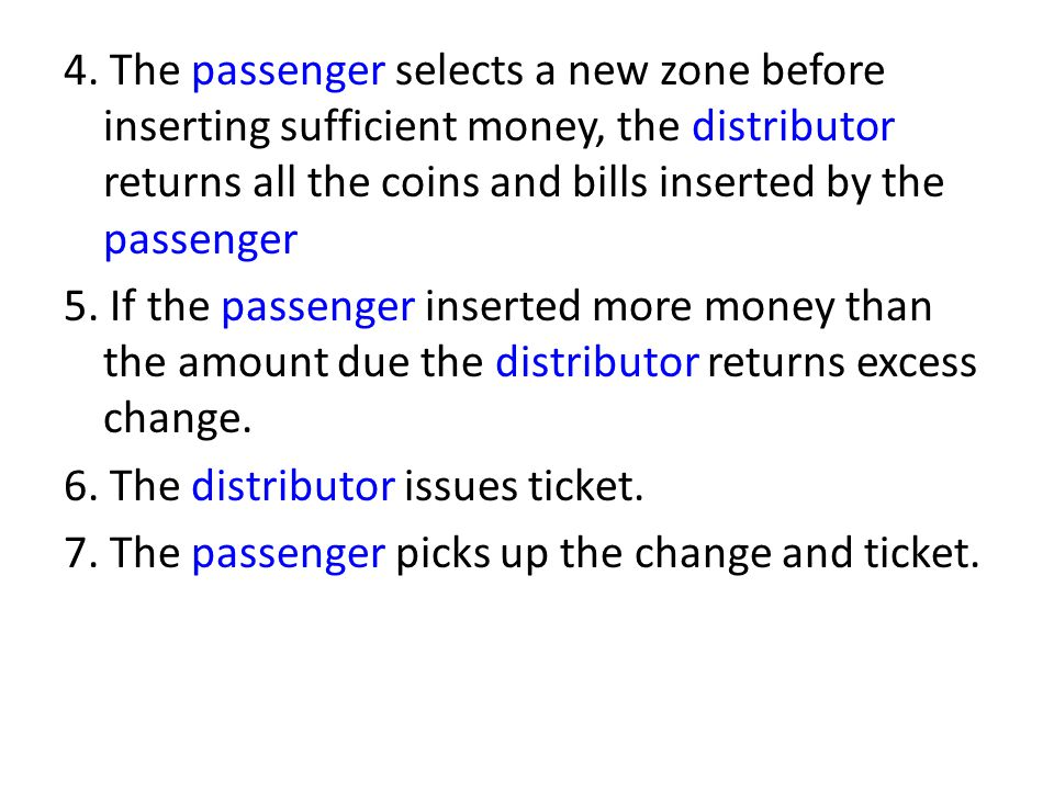 4. The passenger selects a new zone before inserting sufficient money, the distributor returns all the coins and bills inserted by the passenger 5. If