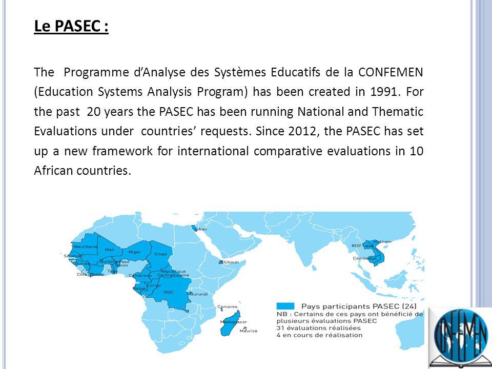 Le PASEC : The Programme dAnalyse des Systèmes Educatifs de la CONFEMEN (Education Systems Analysis Program) has been created in 1991.