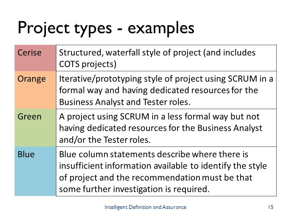 Project types - examples CeriseStructured, waterfall style of project (and includes COTS projects) OrangeIterative/prototyping style of project using