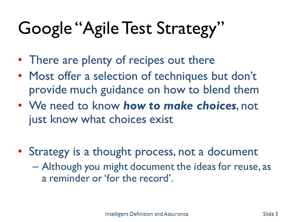 (Test Strategy as) Agile Interventions Im using Scrum/Sprint terminology, but you dont have to of course