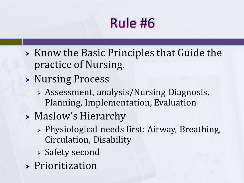 Know the Basic Principles that Guide the practice of Nursing.