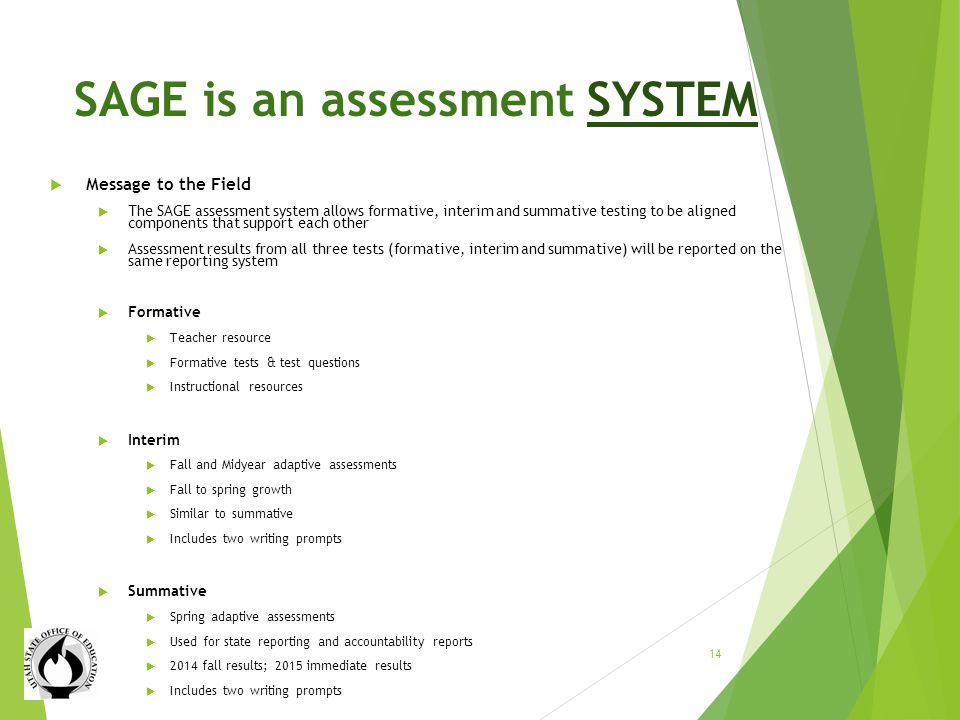 SAGE is an assessment SYSTEM Message to the Field The SAGE assessment system allows formative, interim and summative testing to be aligned components that support each other Assessment results from all three tests (formative, interim and summative) will be reported on the same reporting system Formative Teacher resource Formative tests & test questions Instructional resources Interim Fall and Midyear adaptive assessments Fall to spring growth Similar to summative Includes two writing prompts Summative Spring adaptive assessments Used for state reporting and accountability reports 2014 fall results; 2015 immediate results Includes two writing prompts 14