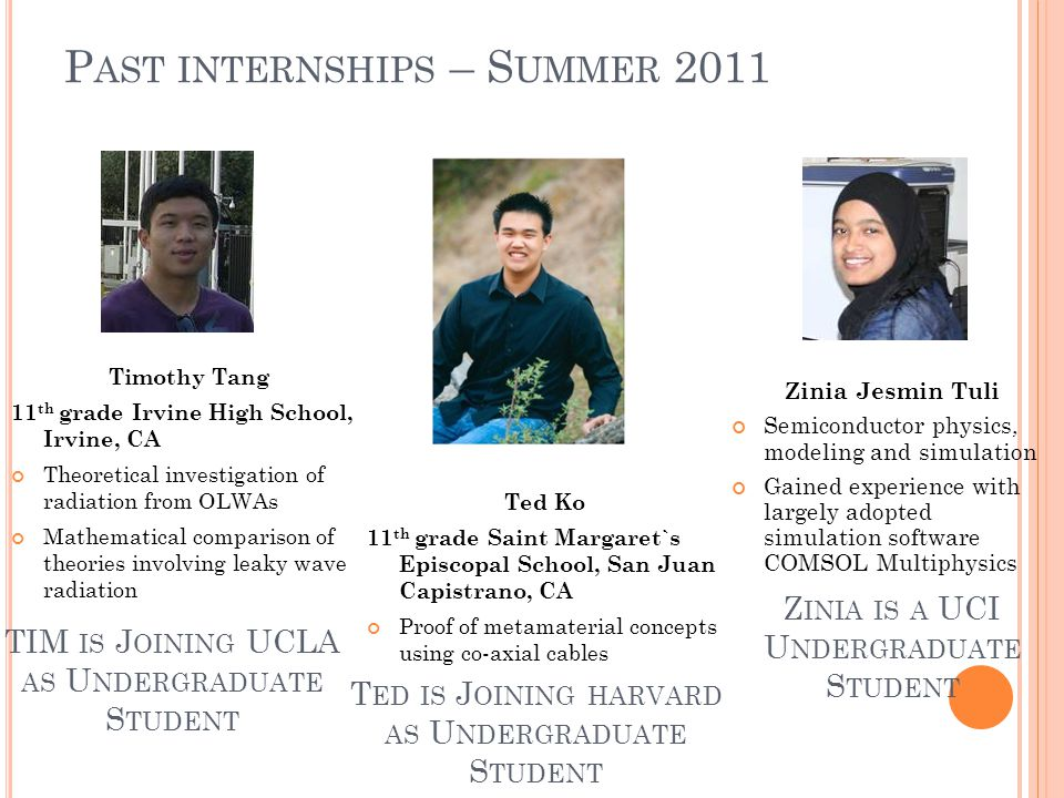 P AST INTERNSHIPS – S UMMER 2011 Zinia Jesmin Tuli Semiconductor physics, modeling and simulation Gained experience with largely adopted simulation software COMSOL Multiphysics Timothy Tang 11 th grade Irvine High School, Irvine, CA Theoretical investigation of radiation from OLWAs Mathematical comparison of theories involving leaky wave radiation Ted Ko 11 th grade Saint Margaret`s Episcopal School, San Juan Capistrano, CA Proof of metamaterial concepts using co-axial cables TIM IS J OINING UCLA AS U NDERGRADUATE S TUDENT T ED IS J OINING HARVARD AS U NDERGRADUATE S TUDENT Z INIA IS A UCI U NDERGRADUATE S TUDENT