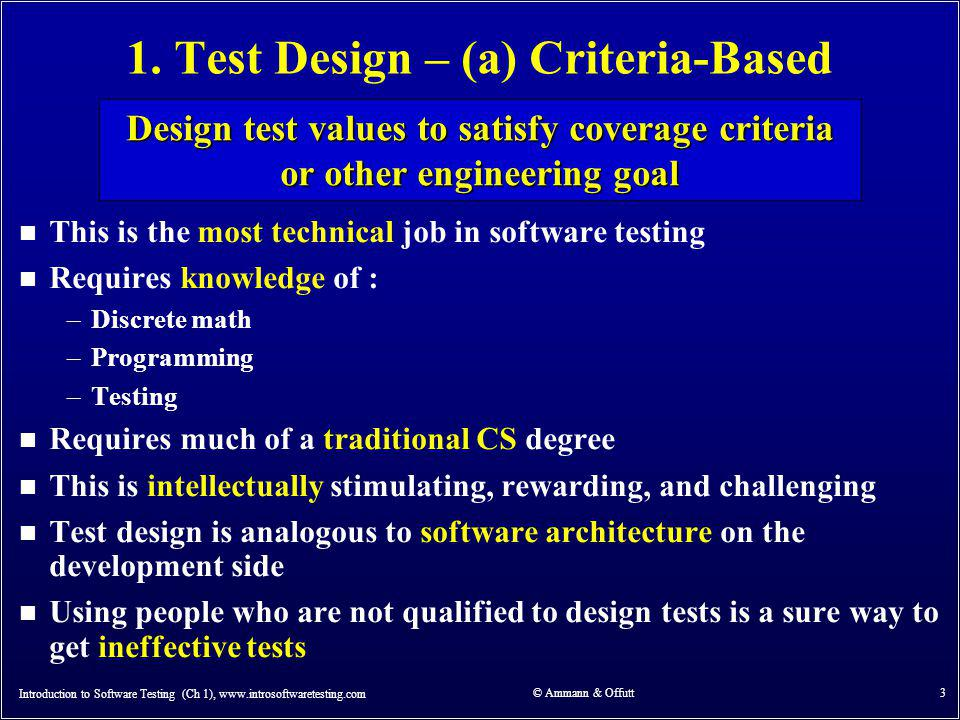 Model-Driven Test Design – Activities Introduction to Software Testing (Ch 1), www.introsoftwaretesting.com © Ammann & Offutt 14 software artifact model / structure test requirements refined requirements / test specs input values test cases test scripts test results pass / fail IMPLEMENTATION ABSTRACTION LEVEL DESIGN ABSTRACTION LEVEL Test Design Test Execution Test Evaluation Raising our abstraction level makes test design MUCH easier