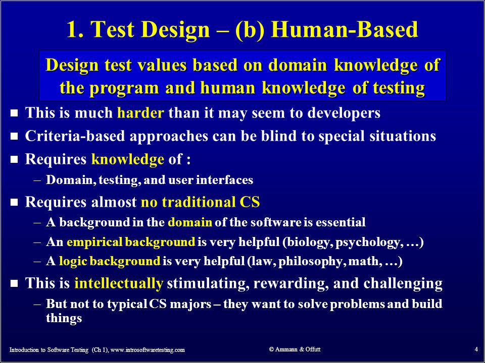 Refinement for Chapters 2 & 3 Introduction to Software Testing (Ch 1), www.introsoftwaretesting.com © Ammann & Offutt 15 The model-driven test design process is generic and has to be instantiated (or refined) for specific kinds of structures