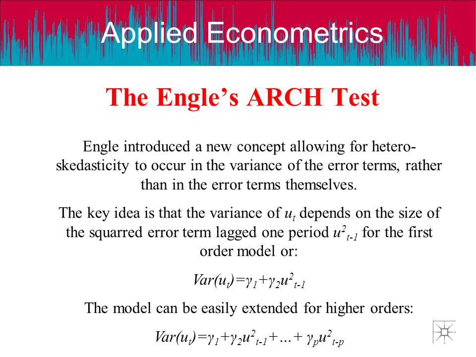 Applied Econometrics The Engles ARCH Test Engle introduced a new concept allowing for hetero- skedasticity to occur in the variance of the error terms
