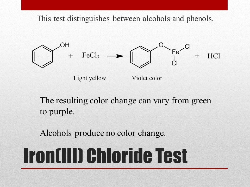 Iron(III) Chloride Test This test distinguishes between alcohols and phenols. The resulting color change can vary from green to purple. Alcohols produ
