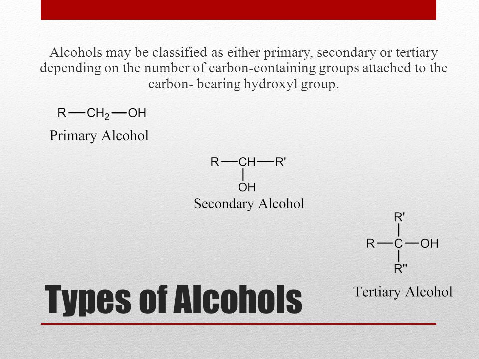Types of Alcohols Alcohols may be classified as either primary, secondary or tertiary depending on the number of carbon-containing groups attached to