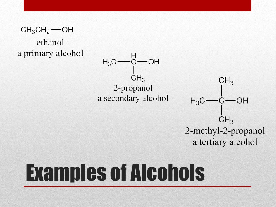 Examples of Alcohols
