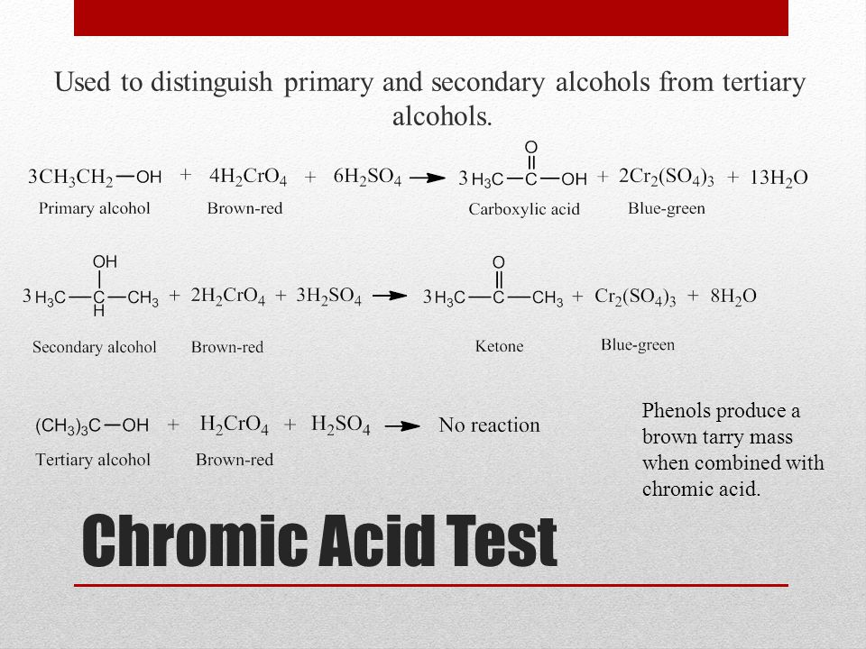 Chromic Acid Test Used to distinguish primary and secondary alcohols from tertiary alcohols. Phenols produce a brown tarry mass when combined with chr