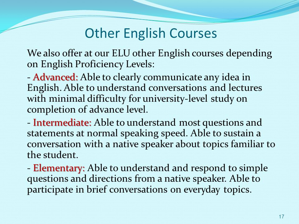 TOEFL Preparation Programme We offer in English Learning Unit (ELU) a 90 –hour programme which focus on the development of test- taking skills and strategies through: Listening practice.