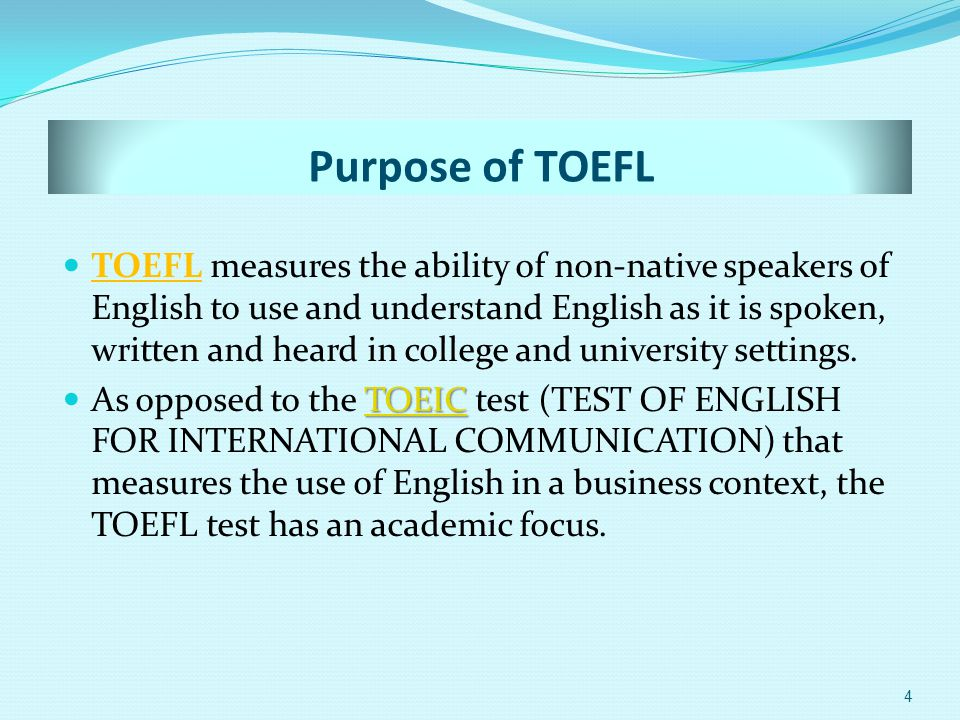TOFEL Origin Educational Testing ServiceEducational Testing Service The TOEFL test is a registered trademark of Educational Testing Service (ETS) and is administered worldwide.Educational Testing Service The test was first administered in 1964 and has since been taken by more than 23 million students.
