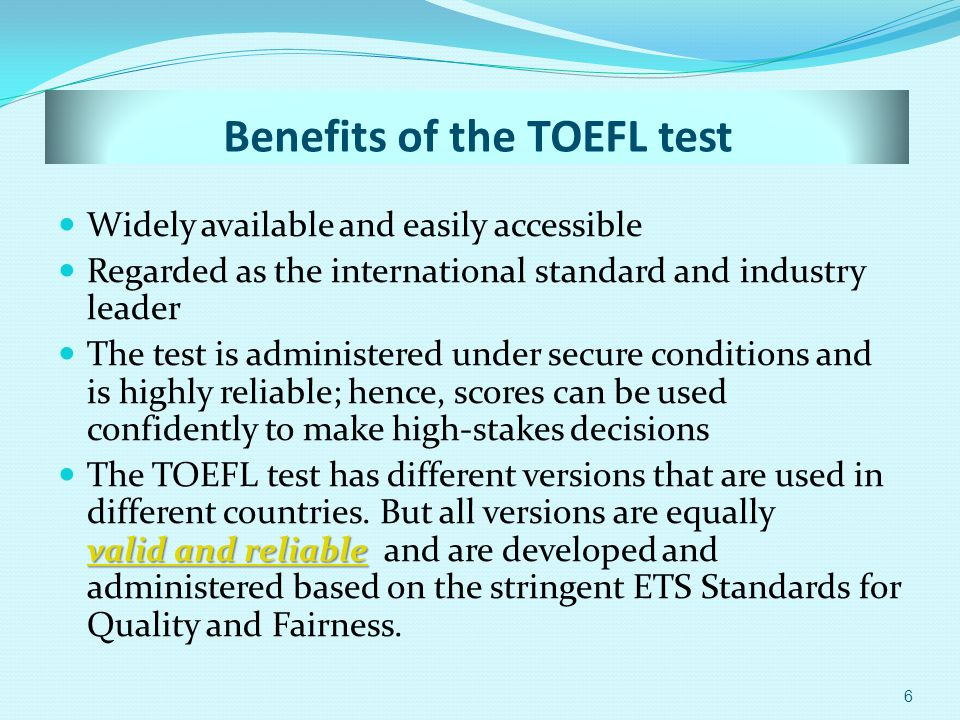 Who uses the TOEFL test.