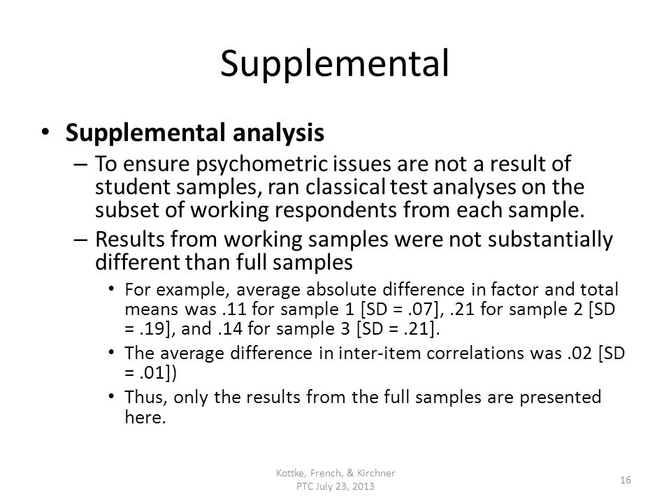 Supplemental Supplemental analysis – To ensure psychometric issues are not a result of student samples, ran classical test analyses on the subset of w