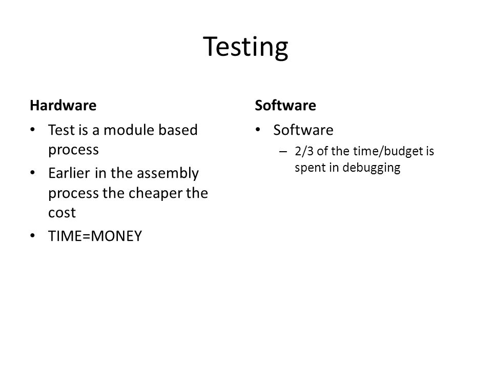 Testing Hardware Test is a module based process Earlier in the assembly process the cheaper the cost TIME=MONEY Software – 2/3 of the time/budget is spent in debugging