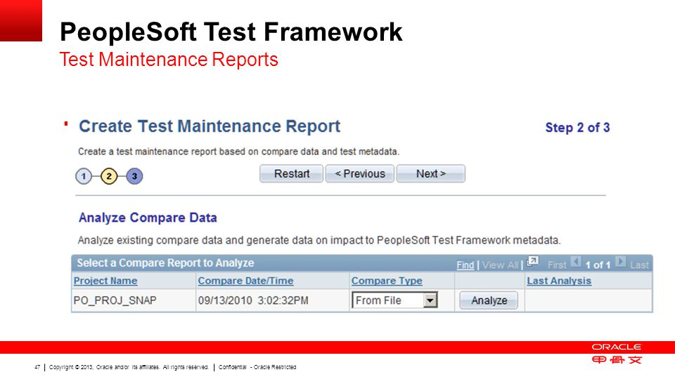Copyright © 2013, Oracle and/or its affiliates. All rights reserved. Confidential - Oracle Restricted 47 PeopleSoft Test Framework Step 2: Analyze Com