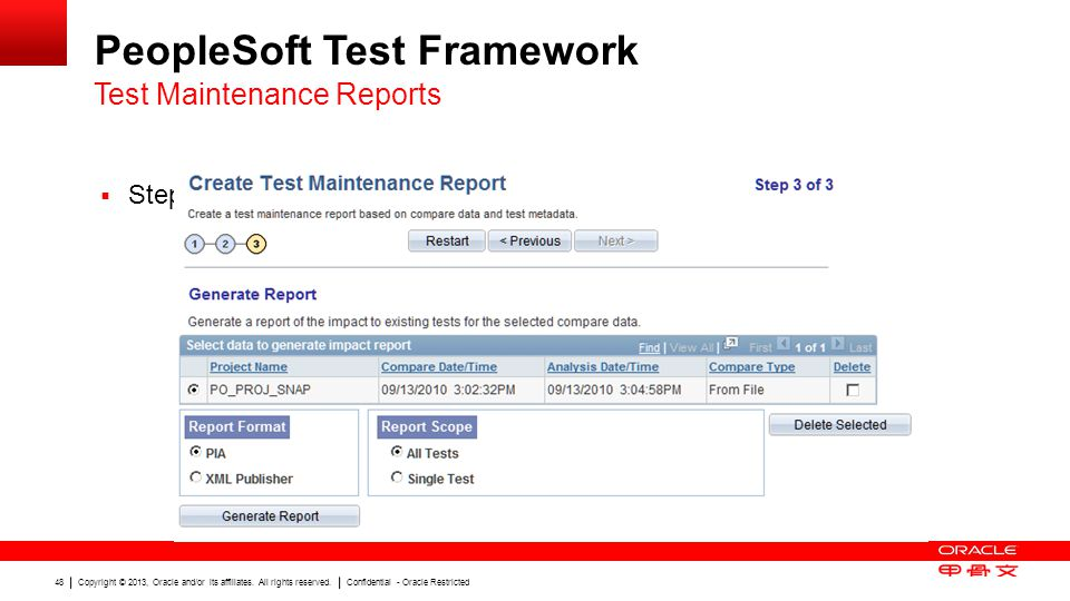 Copyright © 2013, Oracle and/or its affiliates. All rights reserved. Confidential - Oracle Restricted 48 PeopleSoft Test Framework Step 3: Generate Re