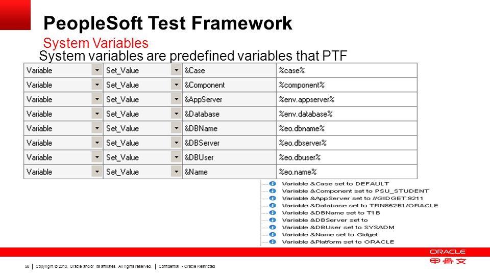 Copyright © 2013, Oracle and/or its affiliates. All rights reserved. Confidential - Oracle Restricted 58 PeopleSoft Test Framework System Variables Sy
