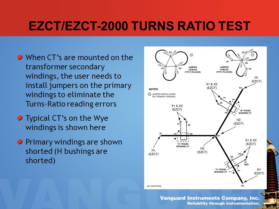 EZCT/EZCT-2000 TURNS RATIO TEST When CTs are mounted on the transformer secondary windings, the user needs to install jumpers on the primary windings