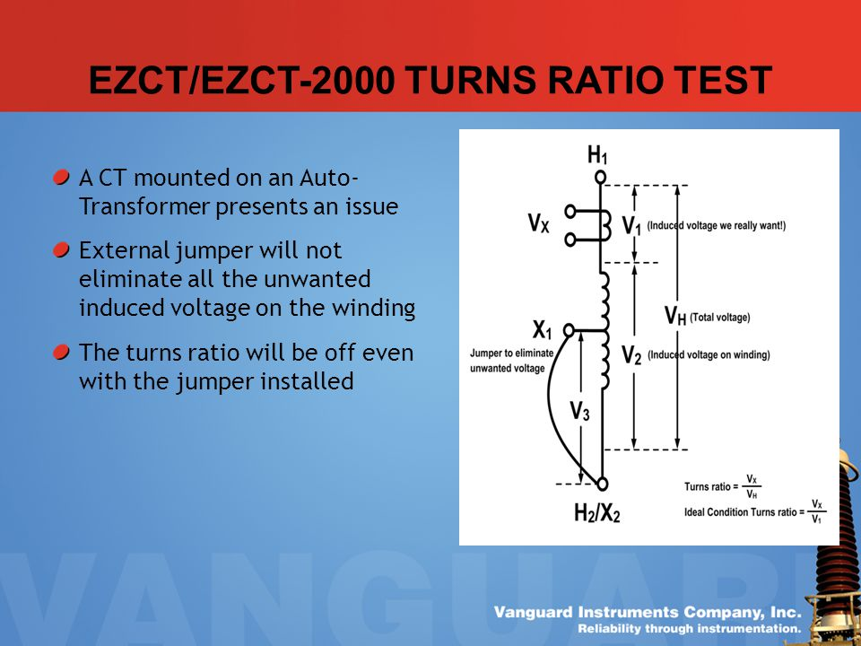 EZCT/EZCT-2000 TURNS RATIO TEST A CT mounted on an Auto- Transformer presents an issue External jumper will not eliminate all the unwanted induced vol