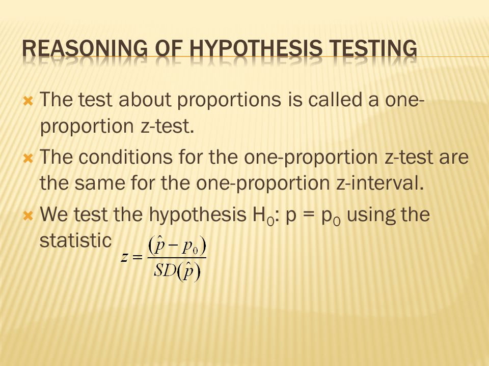 The test about proportions is called a one- proportion z-test. The conditions for the one-proportion z-test are the same for the one-proportion z-inte