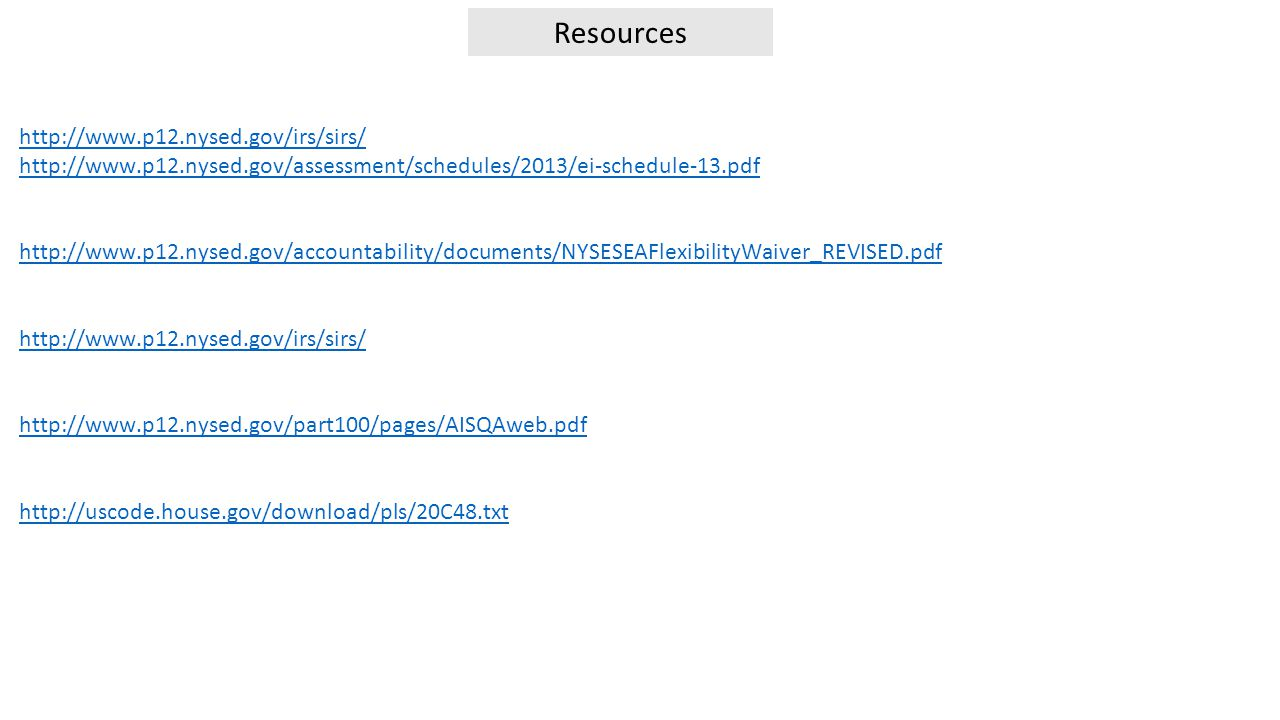 Resources http://www.p12.nysed.gov/irs/sirs/ http://www.p12.nysed.gov/assessment/schedules/2013/ei-schedule-13.pdf http://www.p12.nysed.gov/accountability/documents/NYSESEAFlexibilityWaiver_REVISED.pdf http://www.p12.nysed.gov/irs/sirs/ http://www.p12.nysed.gov/part100/pages/AISQAweb.pdf http://uscode.house.gov/download/pls/20C48.txt