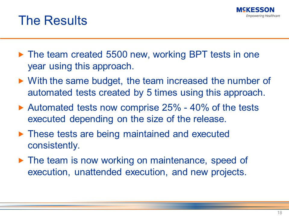 The Results The team created 5500 new, working BPT tests in one year using this approach.