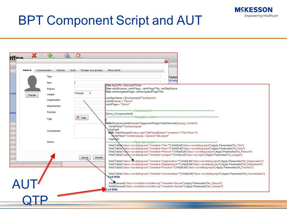 BPT Component Script and AUT AUT QTP