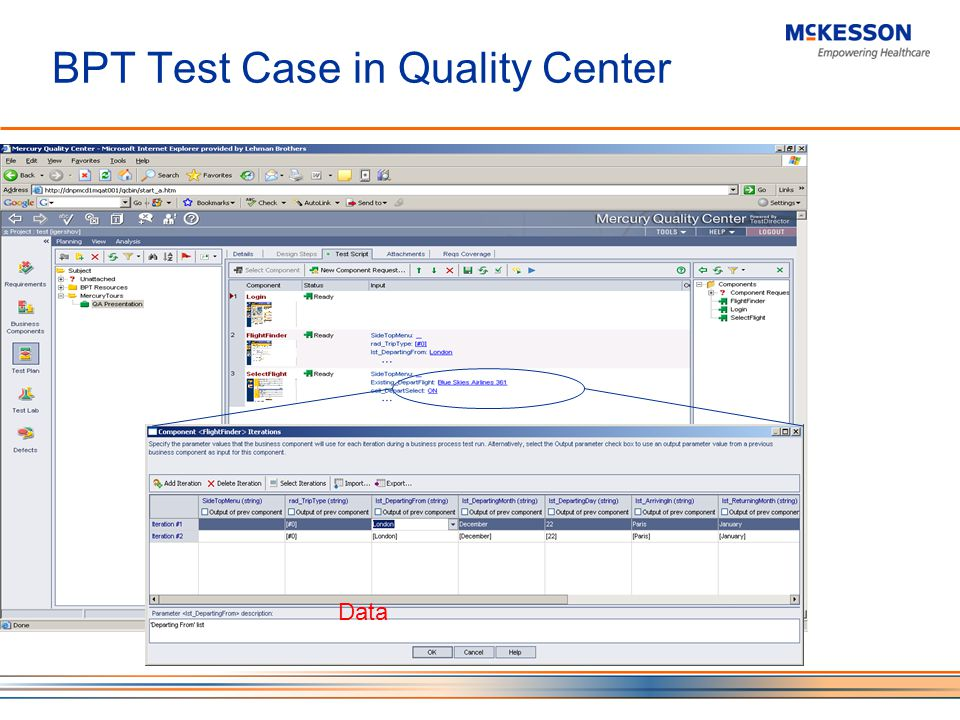 BPT Test Case in Quality Center Data