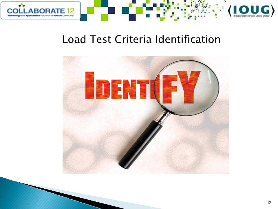 Load Test Criteria Identification 12