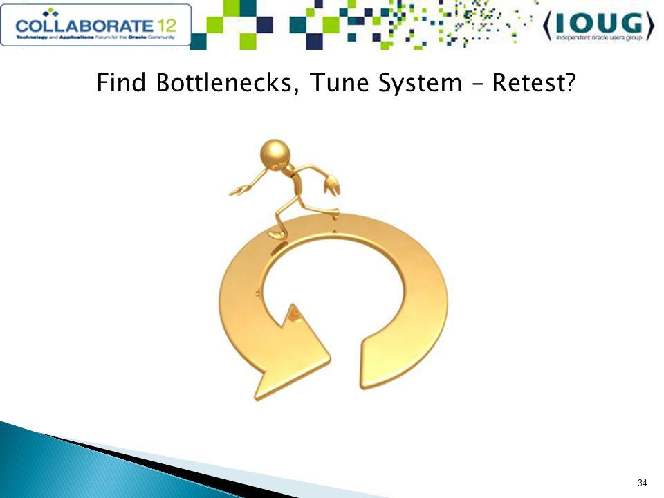 Find Bottlenecks, Tune System – Retest? 34